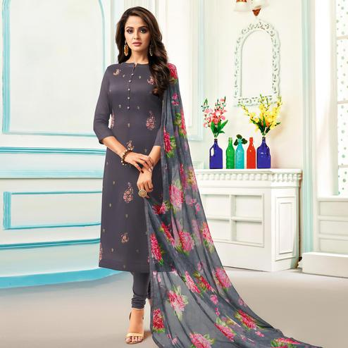 Radiant Dark Grey Colored Partywear Embroidered Chanderi Dress Material