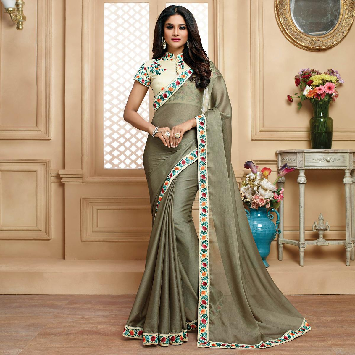 Lovely Grey Colored Designer Embroidered Georgette Saree