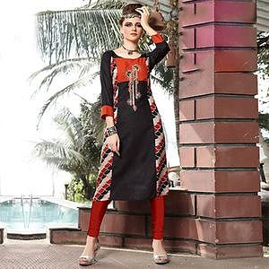 Charming Black Designer Embroidered Rayon Kurti