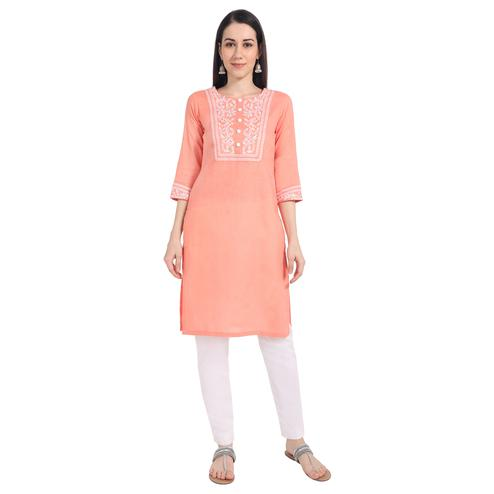 Classy Peach Colored Casual Wear Embroidered Cotton Kurti