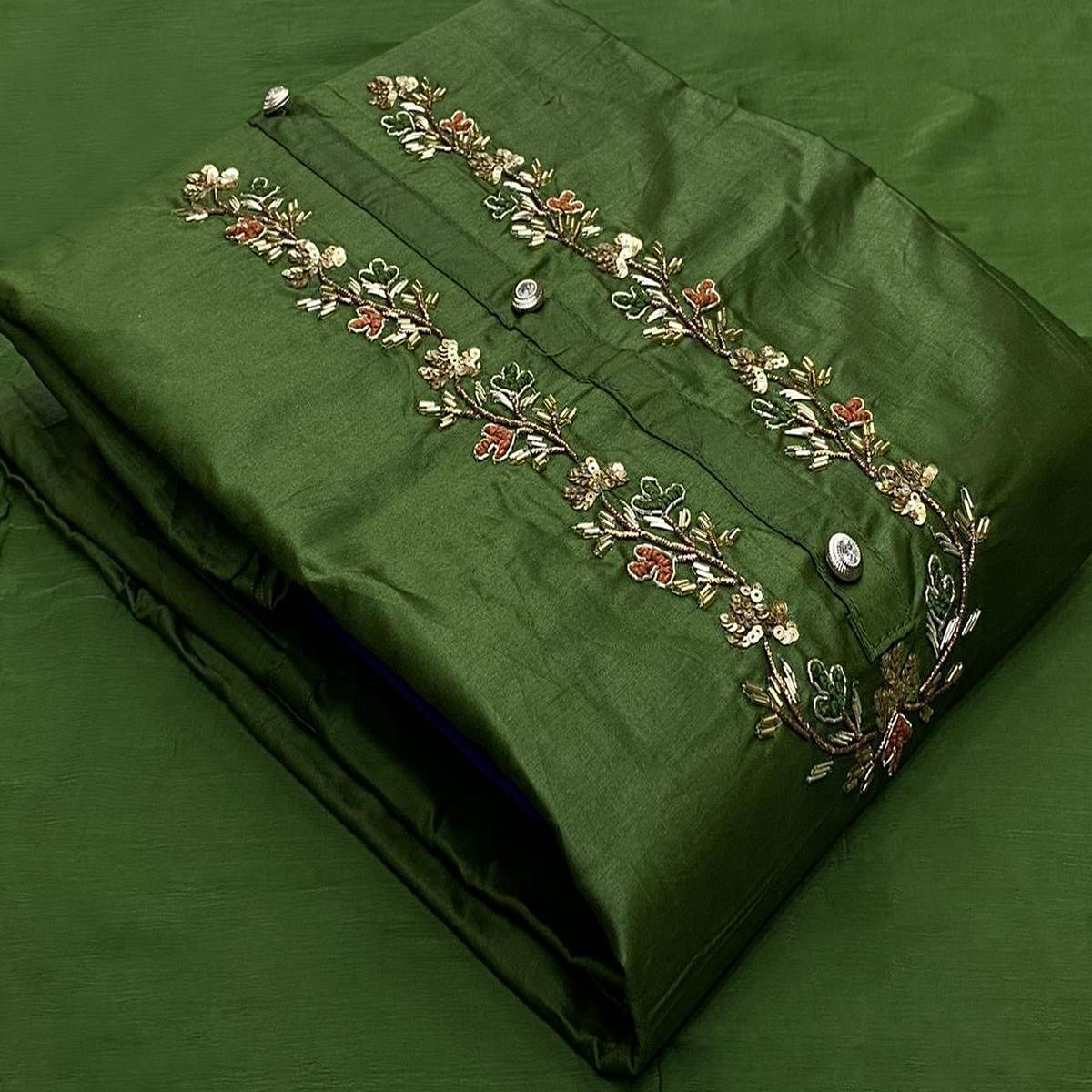 IRIS - Green Colored Casual Embroidered Cotton Dress Material