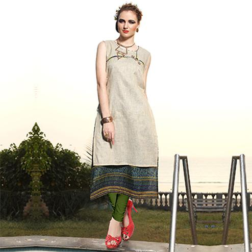 Mesmerising Beige Designer Embroidered Art Silk And Rayon Kurti