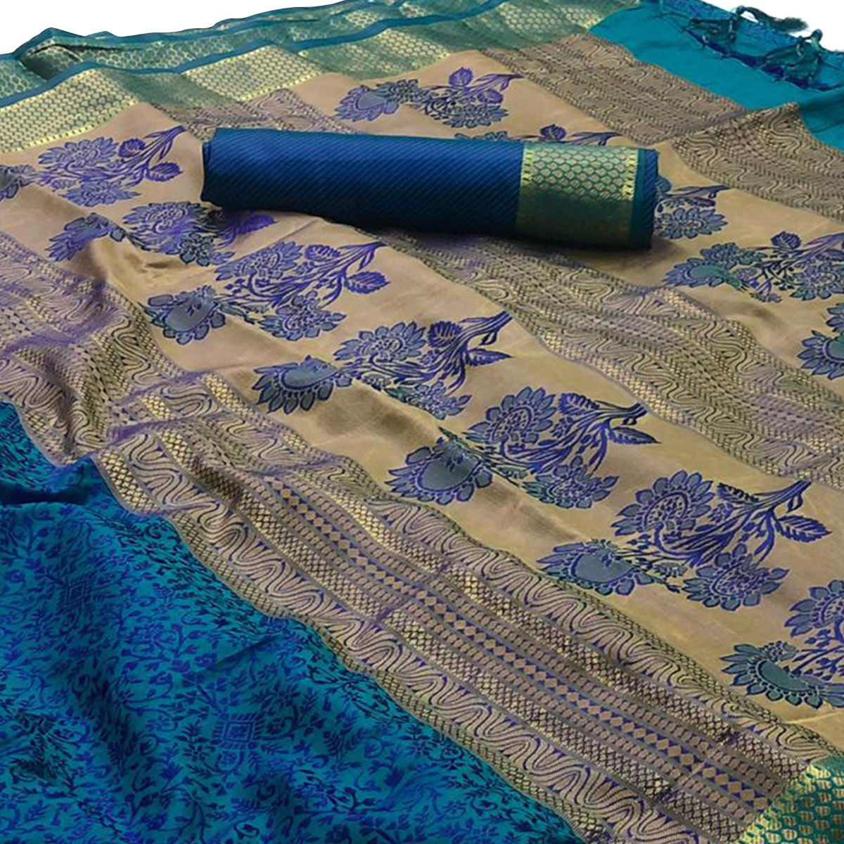 Exotic Turquoise Blue Colored Festive Wear Woven Silk Saree
