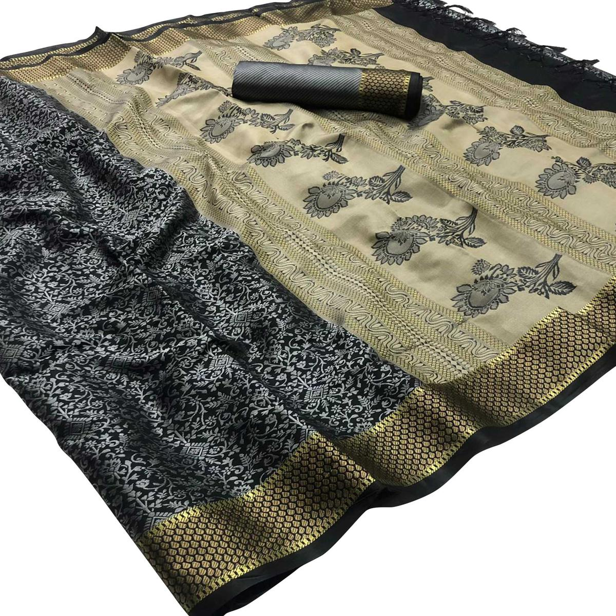 Trendy Black - Grey Colored Festive Wear Woven Silk Saree