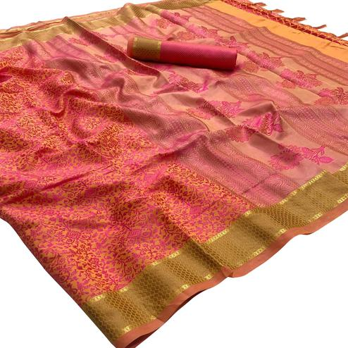 Pleasant Peach - Pink Colored Festive Wear Woven Silk Saree