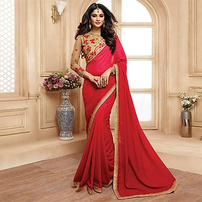 Mesmerising Red Colored Designer Embroidered Two Tone Silk Saree