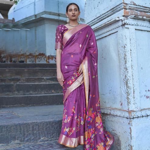 Ideal Purple Colored Festive Wear Woven Silk Saree