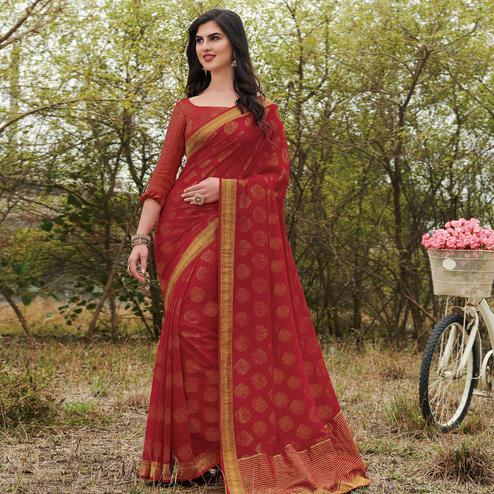 Preferable Red Colored Partywear Woven Georgette Saree