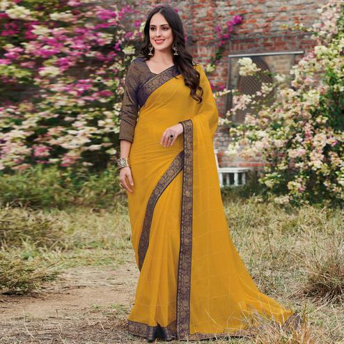 Marvellous Yellow Colored Partywear Woven Chiffon Saree