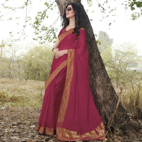 Pretty Rani Pink Colored Partywear Woven Georgette Saree