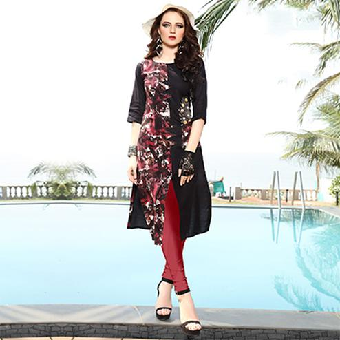 Classy Brown Designer Embroidered Rayon Kurti