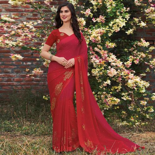 Flirty Pink - Red Colored Partywear Woven Georgette Saree