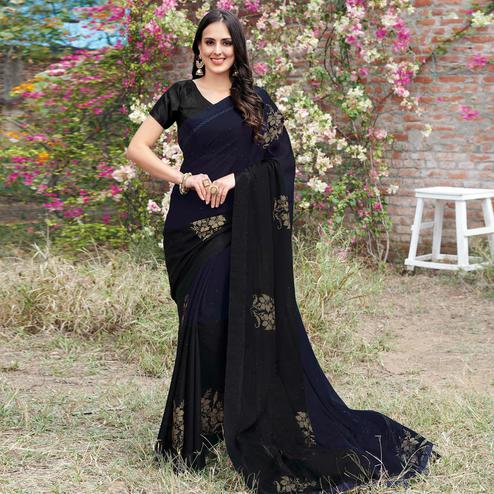 Capricious Black Colored Partywear Woven Georgette Saree