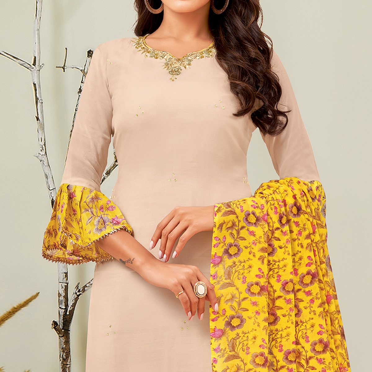 Glorious Beige Colored Partywear Embroidered Chanderi Dress Material