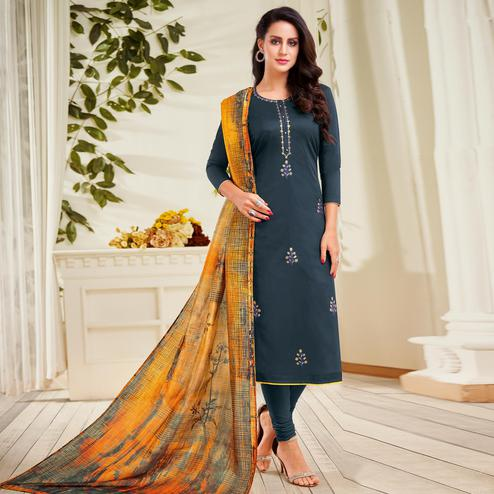 Blooming Dark Navy Blue Colored Partywear Embroidered Chanderi Dress Material