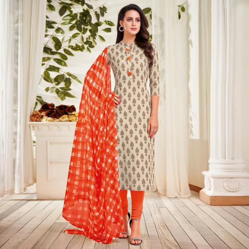 Charming Beige Colored Partywear Embroidered Chanderi Dress Material