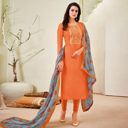 Delightful Orange Colored Partywear Embroidered Chanderi Dress Material