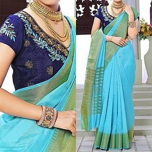Sky Blue Weaving Work Silk Saree with Embroidered Blouse