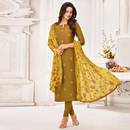 Arresting Olive Green Colored Partywear Embroidered Chanderi Dress Material