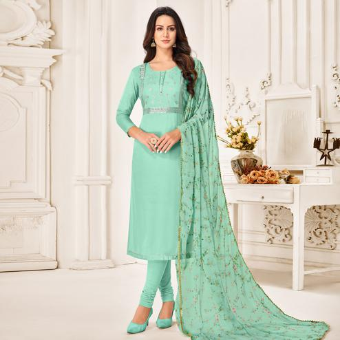 Desirable Aqua Blue Colored Partywear Embroidered Chanderi Dress Material