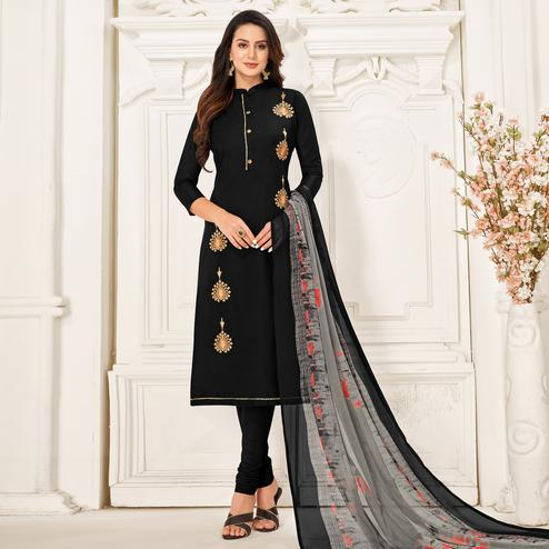 Exotic Black Colored Partywear Embroidered Chanderi Dress Material