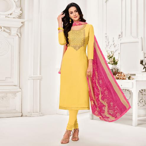 Sophisticated Yellow Colored Partywear Embroidered Chanderi Dress Material