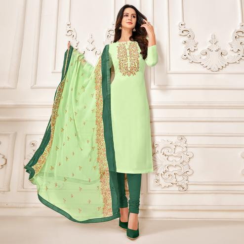 Trendy Pista Green Colored Partywear Embroidered Chanderi Dress Material
