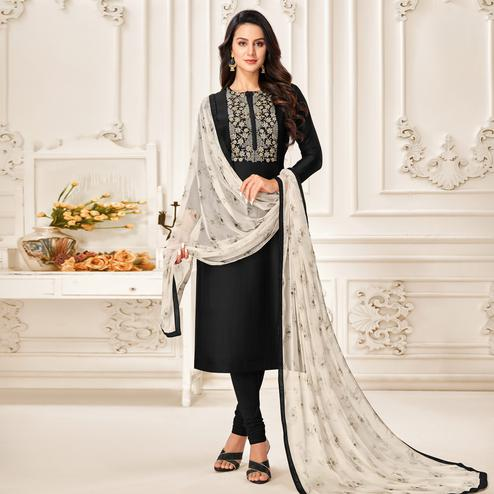 Elegant Black Colored Partywear Embroidered Chanderi Dress Material