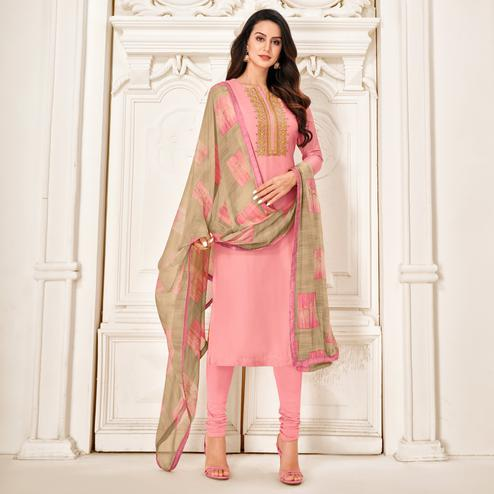 Radiant Pink Colored Partywear Embroidered Chanderi Dress Material
