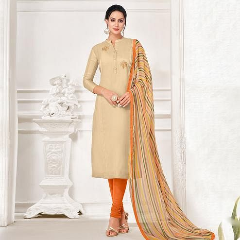Glowing Beige Colored Partywear Embroidered Chanderi Dress Material