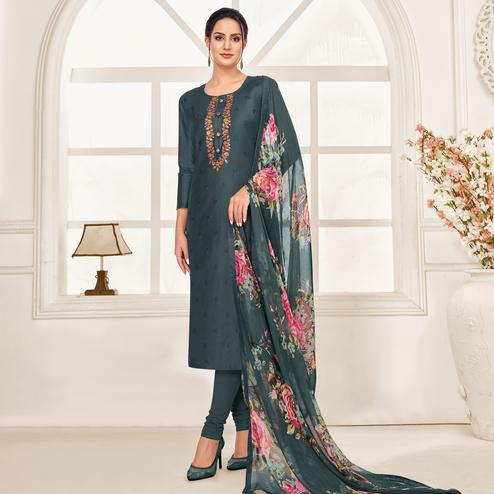 Exceptional Dark Grey Colored Partywear Embroidered Chanderi Dress Material