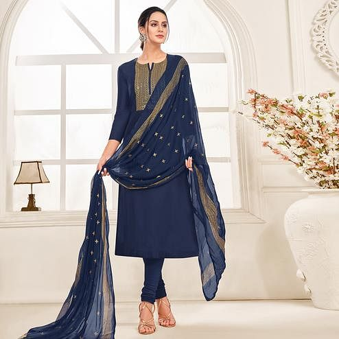 Unique Navy Blue Colored Partywear Embroidered Chanderi Dress Material