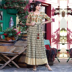 Classy Beige Designer Printed Khadi Cotton Kurti With complementary Purse