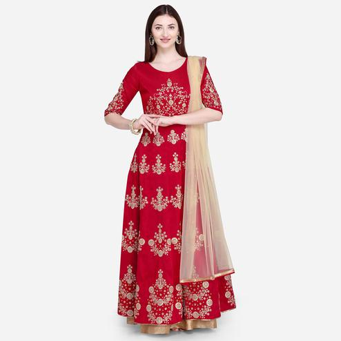 Stylee Lifestyle - Red Colored Party Wear Embroidered Raw Silk Palazzo Suit