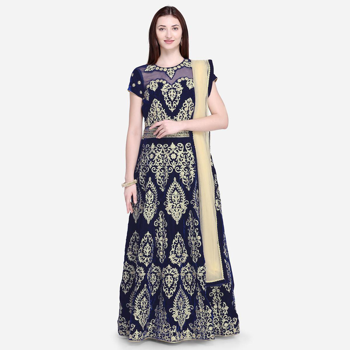 Stylee Lifestyle - Navy Blue Colored Party Wear Embroidered Velvet Anarkali Suit