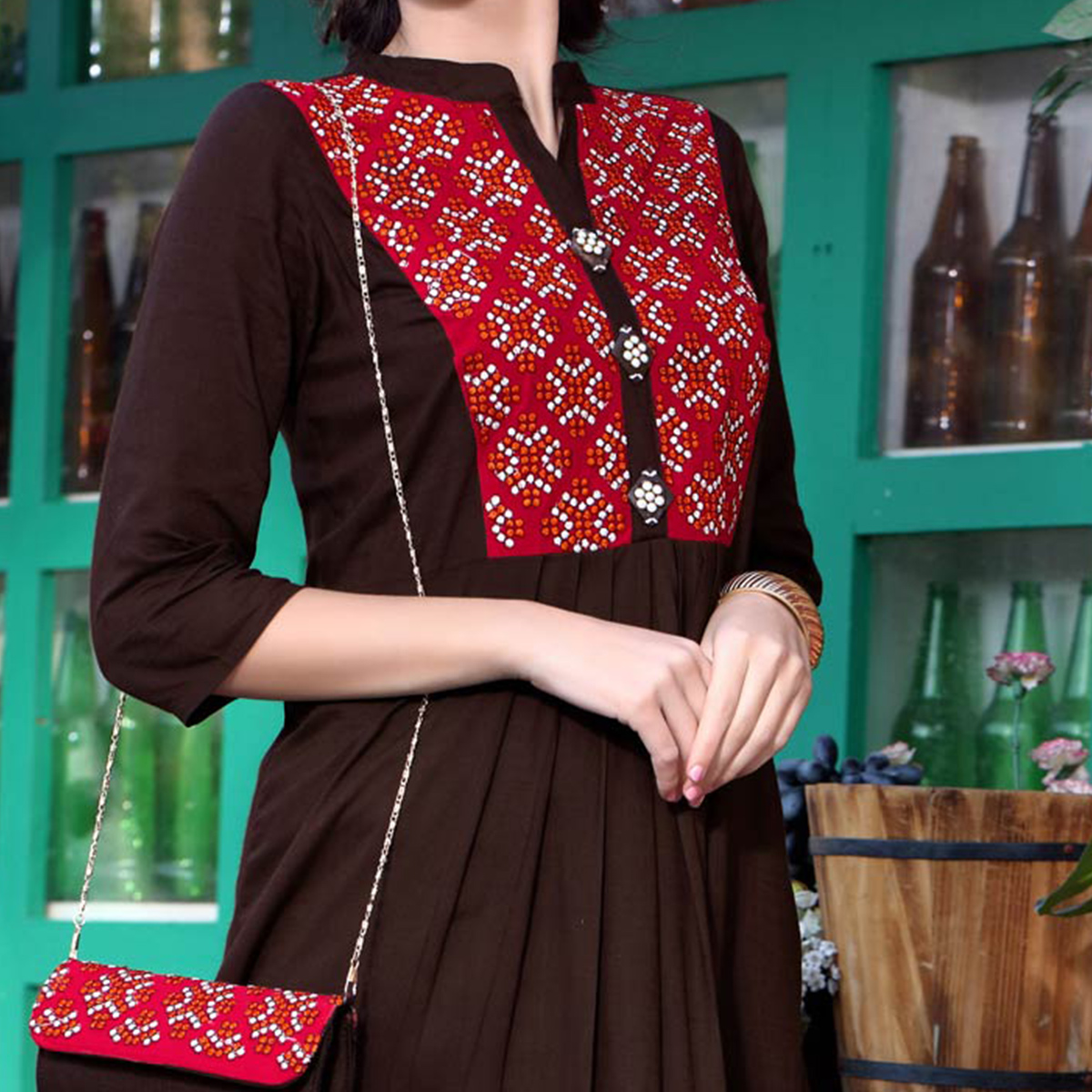 Graceful Brown Designer Printed Cotton Kurti With Complimentary Purse