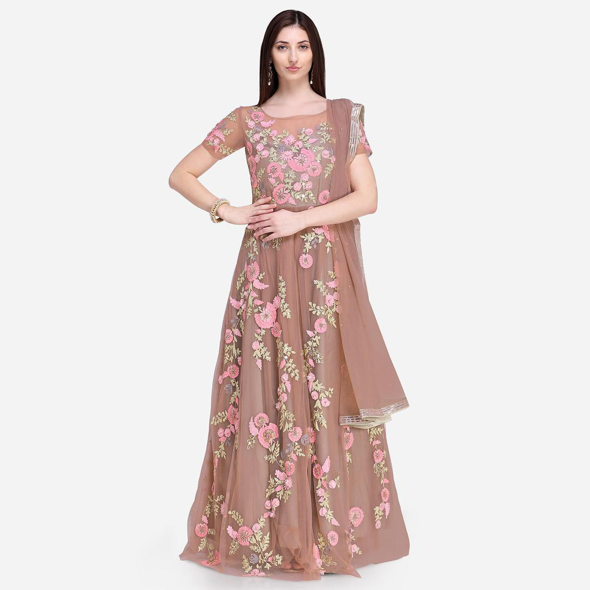 Stylee Lifestyle - Mauve Colored Party Wear Floral Embroidered Net Anarkali Suit