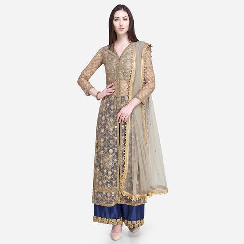 Stylee Lifestyle - Beige Colored Party Wear Embroidered Net Palazzo Suit
