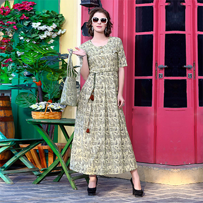 Stylish Beige Designer Printed Khadi Cotton Kurti With Complimentary Purse