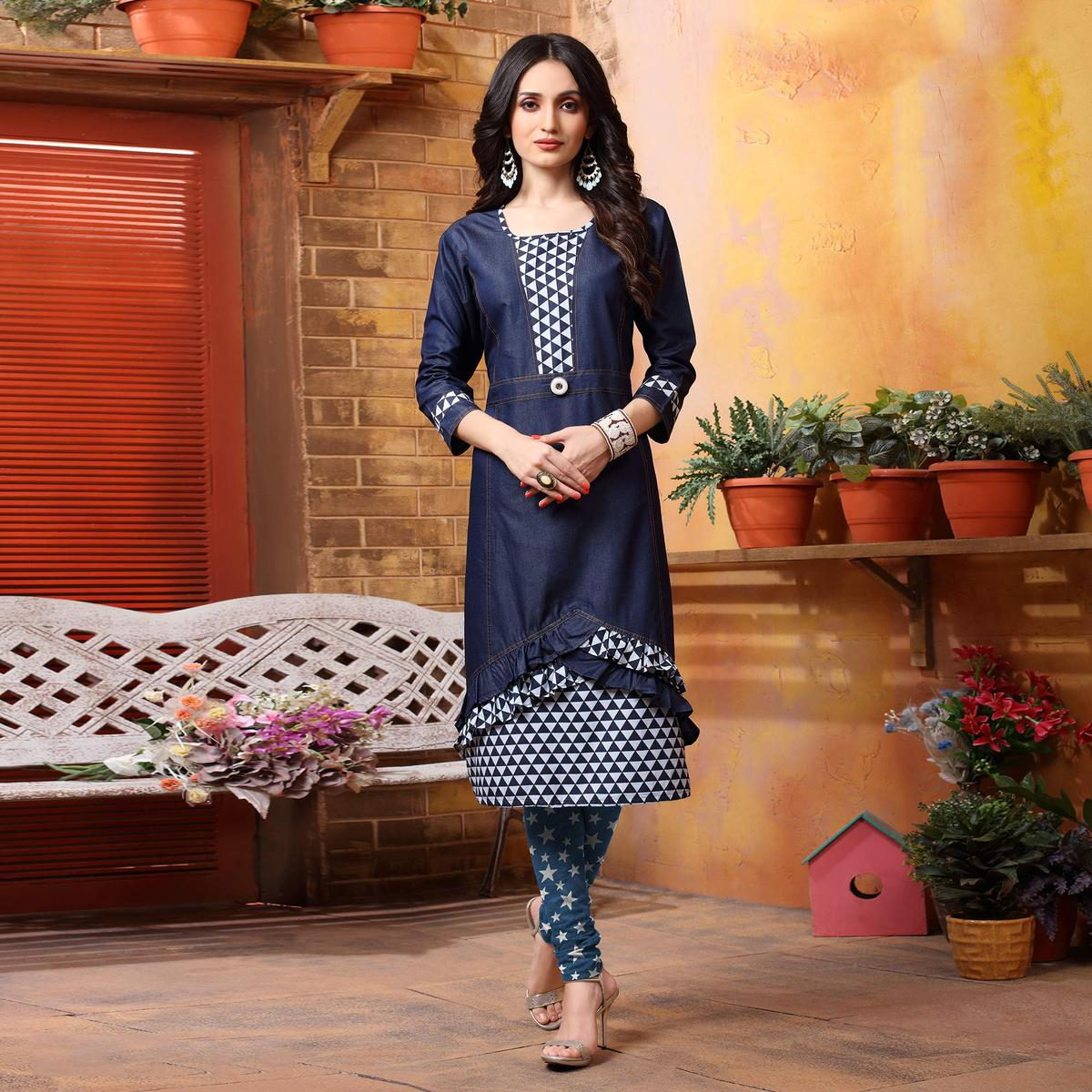 Cool Blue Denim Designer Kurti