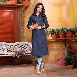 Trendy Blue Denim Designer Kurti