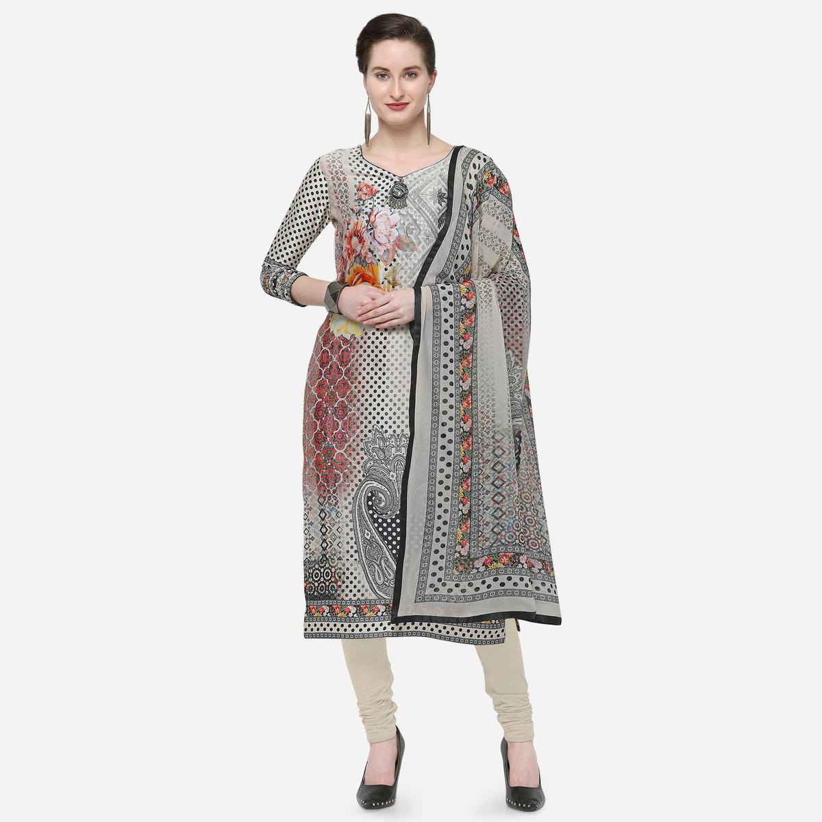 Stylee Lifestyle - Beige Colored Party Wear Printed Satin Dress Material