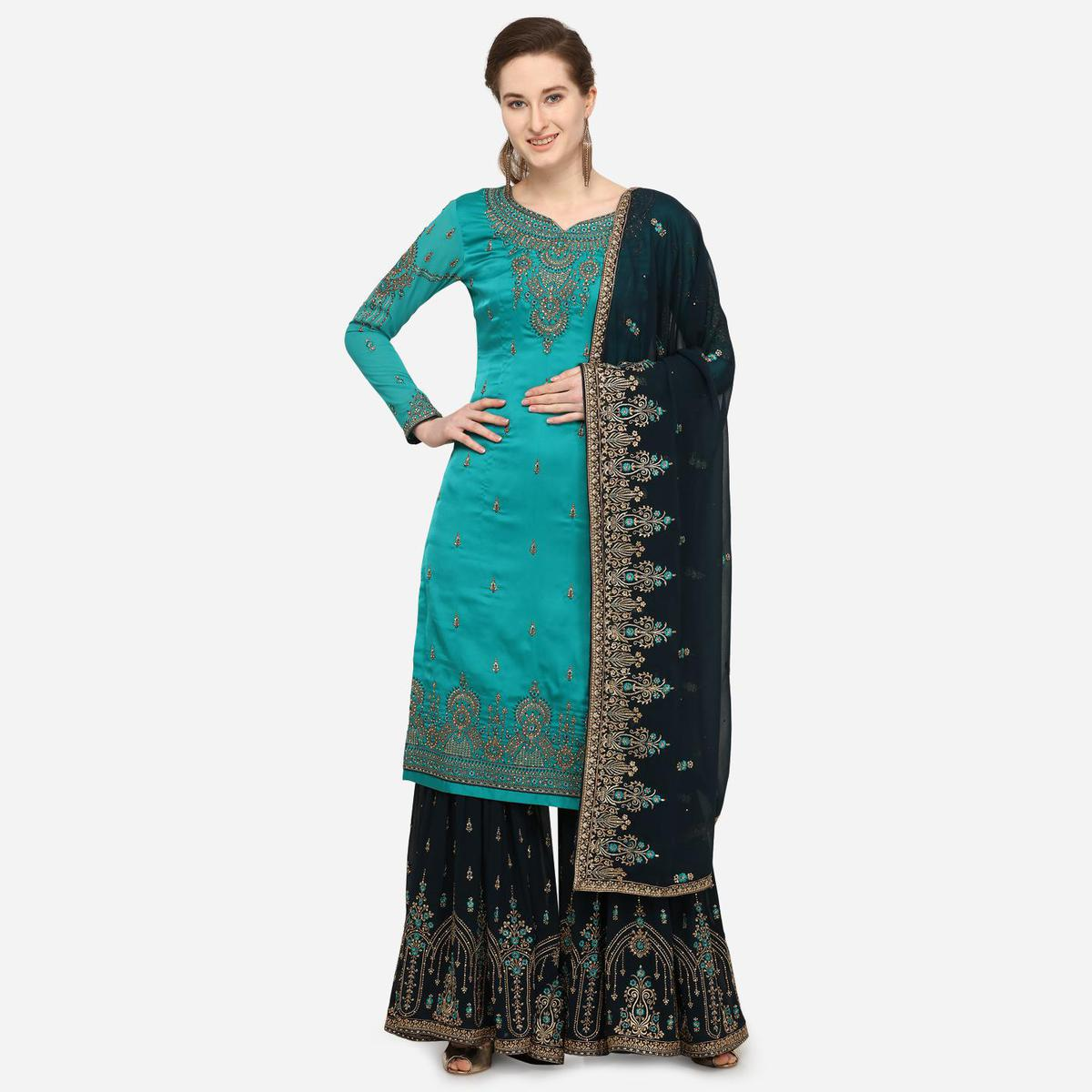 Stylee Lifestyle - Green Colored Party Wear Embroidered Satin Sharara Suit