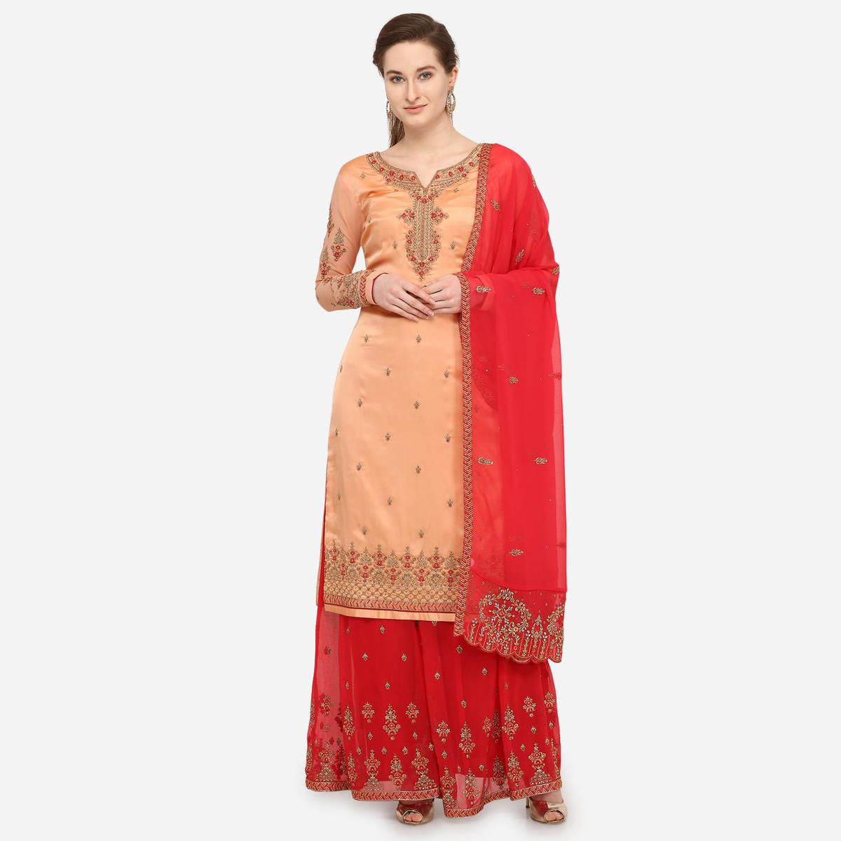 Stylee Lifestyle - Peach Colored Party Wear Embroidered Satin Sharara Suit