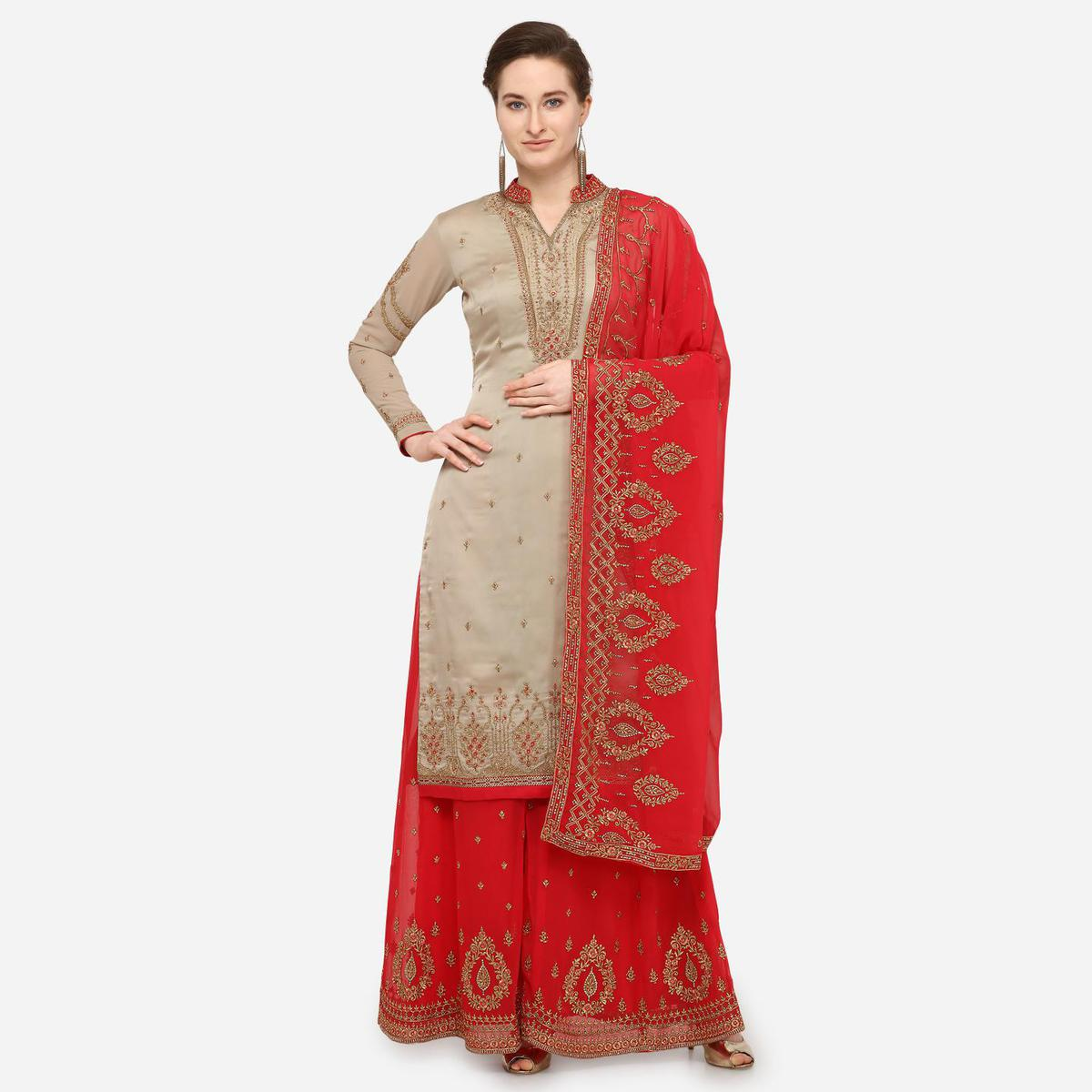 Stylee Lifestyle - Grey Colored Party Wear Embroidered Satin Sharara Suit