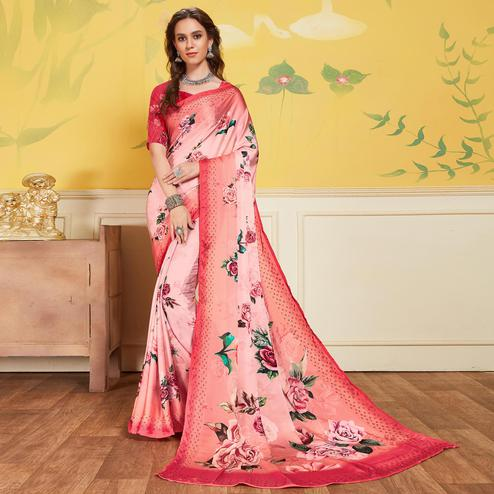 Captivating Peach Colored Casual Printed Satin Saree