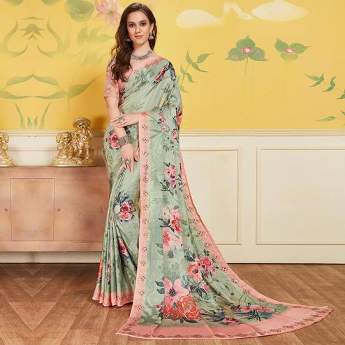Innovative Pista Colored Casual Printed Satin Saree