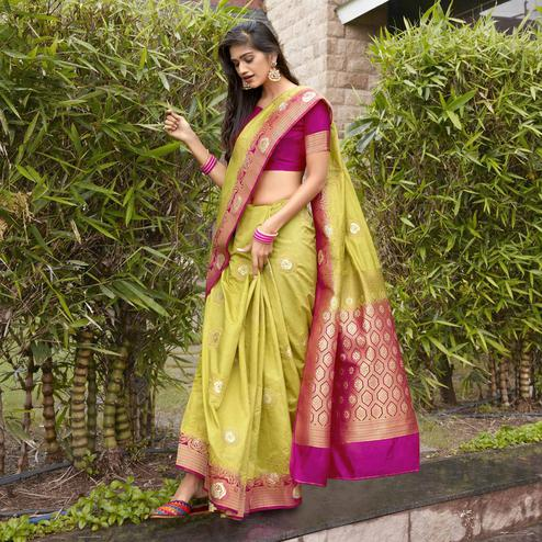 Prominent Light Green Colored Festive Wear Woven Silk Saree