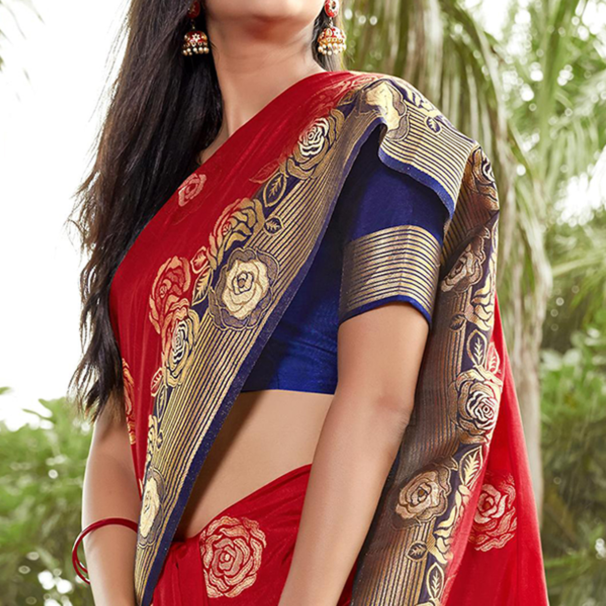 Appealing Red Colored Festive Wear Woven Silk Saree