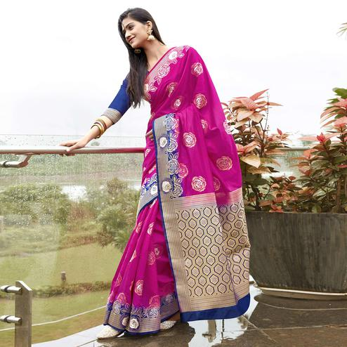 Capricious Pink Colored Festive Wear Woven Silk Saree